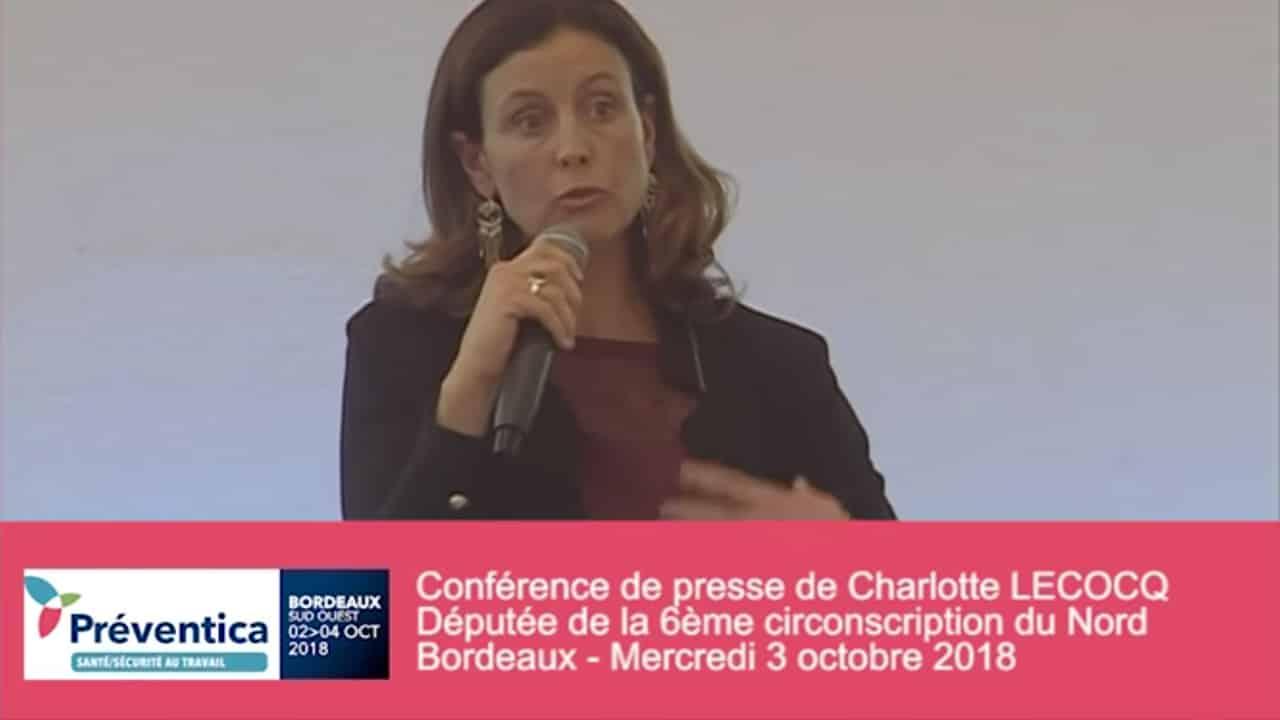 Conférence de presse de Charlotte Lecocq au salon Préventica de Bordeaux